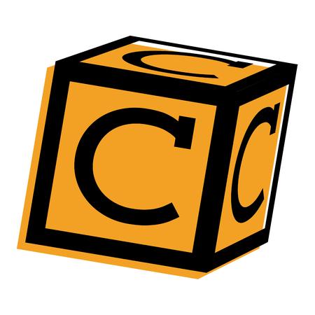 Alphabet block toy education icon vector illustration. Ilustração