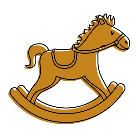 Houten paard speelgoed rockende spel pictogram vectorillustratie.