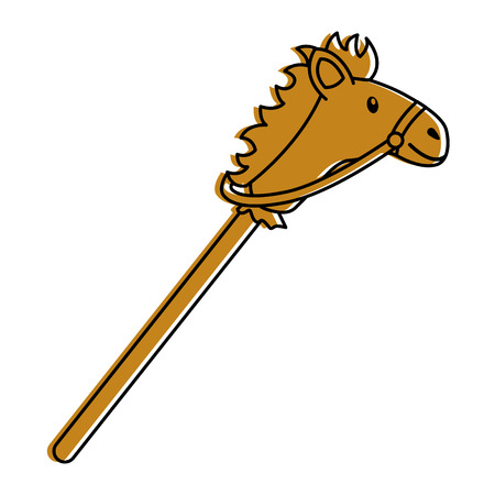 cartoon stick horse toy wooden vector illustration Illustration