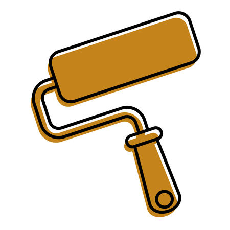 roller brush paint repair tool vector illustration Illustration