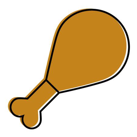roasted chicken leg food icon vector illustration