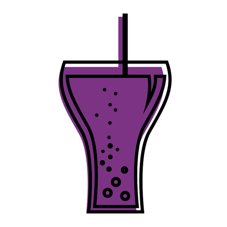 glass soda straw bubbles beverage vector illustration
