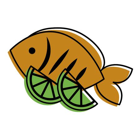 food fresh fish and slide lime vector illustration Ilustração