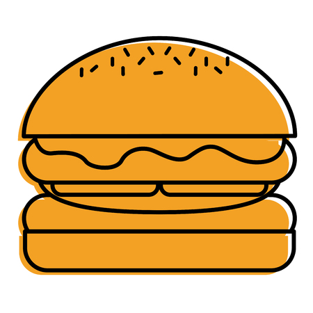 hamburger bread bun lettuce and cheese fresh vector illustration