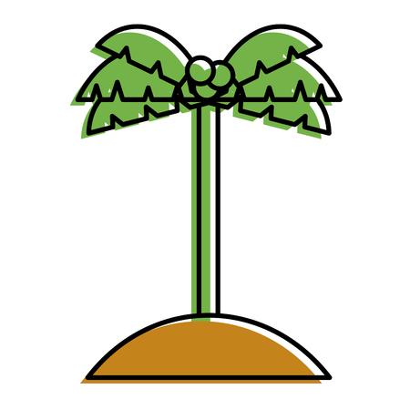 palm tree coconut sand island icon vector illustration