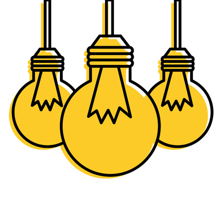 Three hanging bulb lights. Иллюстрация