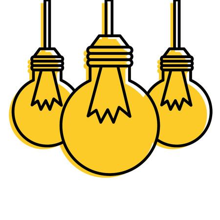 Three hanging bulb lights. Ilustrace