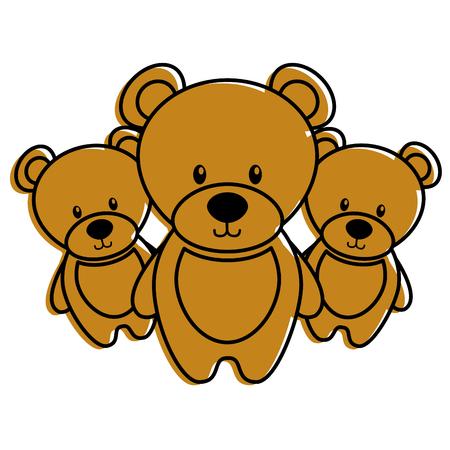Three cute teddy bears illustration