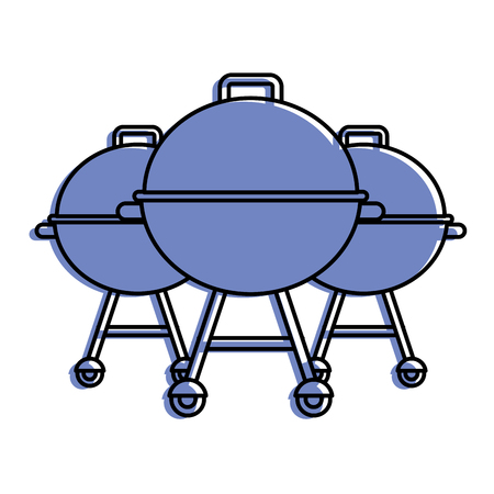 three grill equipment preparation food vector illustration