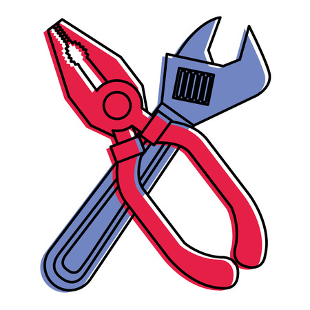 pliers and wrench tool equipment support vector illustration Çizim