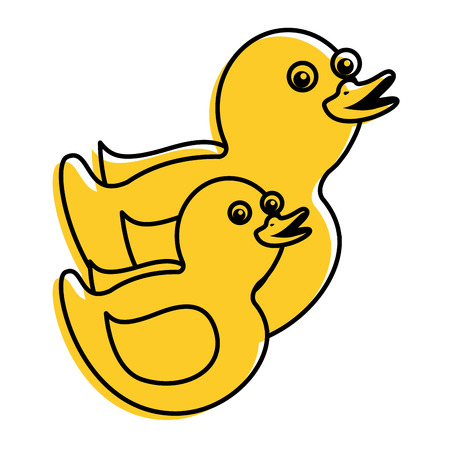 two plastic ducks toy for childs vector illustration