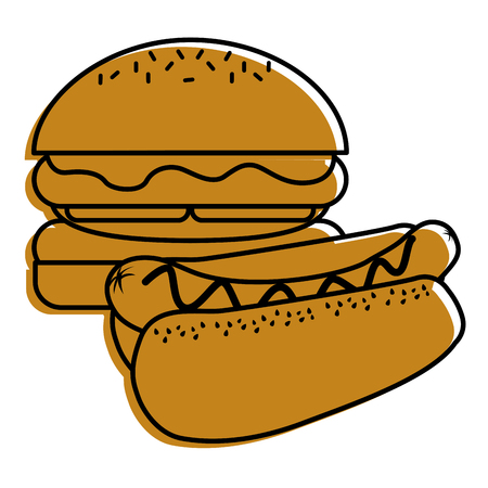 burger and hot dog fast food diet vector illustration Illusztráció