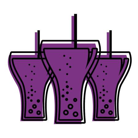 beverage soda three glass straw bubbles vector illustration Illustration