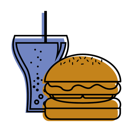 burger and soda glass straw fast food vector illustration Illustration