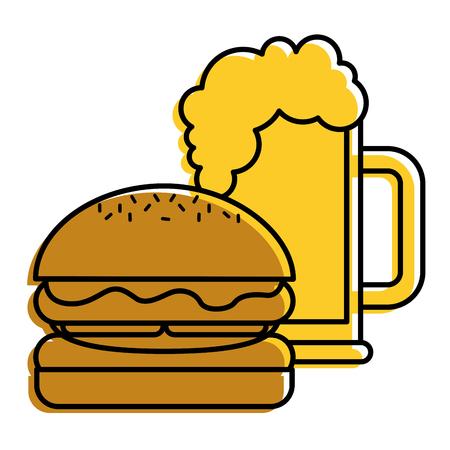 ハンバーガーとビールグラスファーストフード飲料ベクトルイラスト