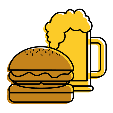 burger and beer glass fast food beverage vector illustration 向量圖像