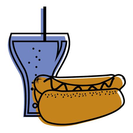 hot dog and soda glass drink food vector illustration