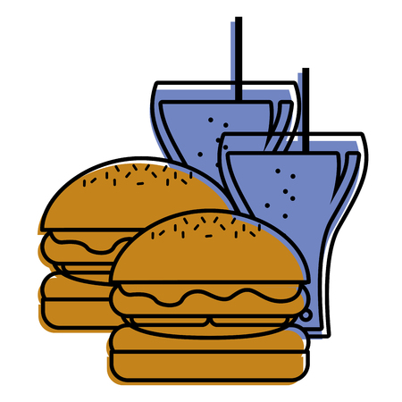 burgers and two soda glass with straw vector illustration