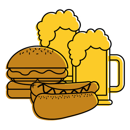 burger and hot dog with two beer vector illustration