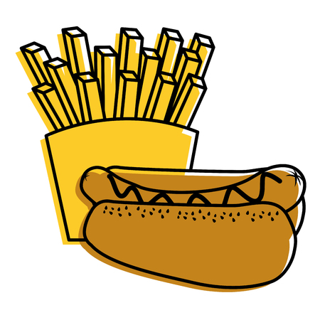 hot dog and french fries food diet vector illustration Illusztráció
