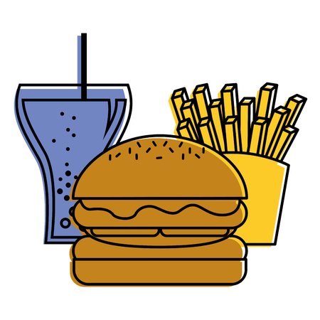 burger french fries and soda glass food vector illustration Illustration
