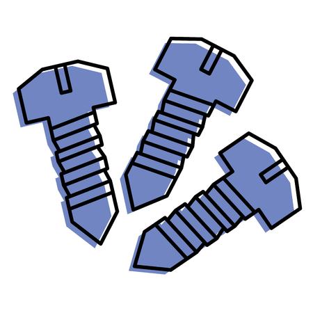 drie schroefgereedschap repareren objecten vector illustratie
