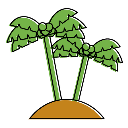 two palms tree coconut beach sand vector illustration