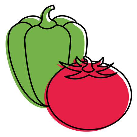 tomato and pepper vegetables nutrition vector illustration
