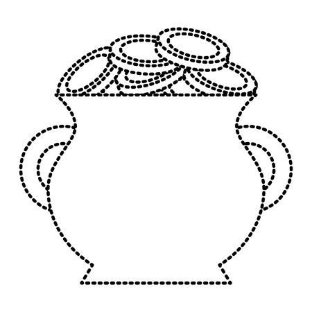 cauldron full of coins treasure image vector illustration