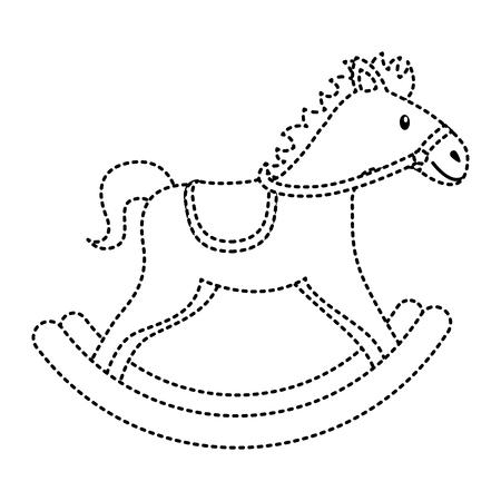 houten paard speelgoed schommelspel pictogram vectorillustratie
