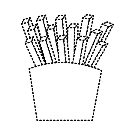 French fries fast food box icon vector illustration
