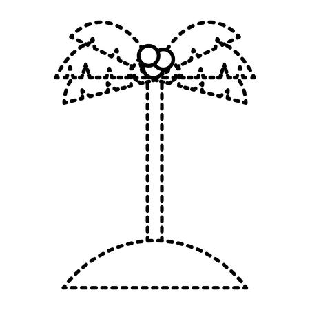 Palm kokosnoot zand eiland pictogram vectorillustratie