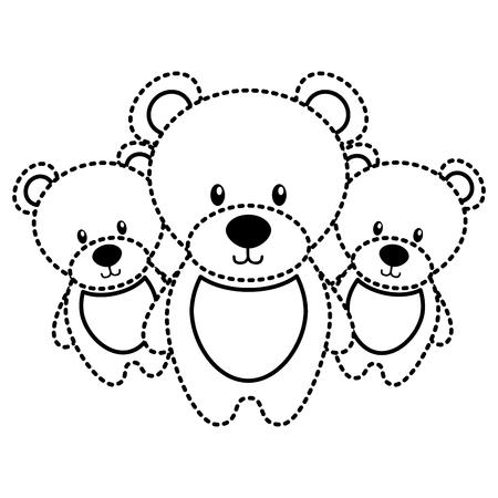Three teddy bears cute animal toy vector illustration Ilustração