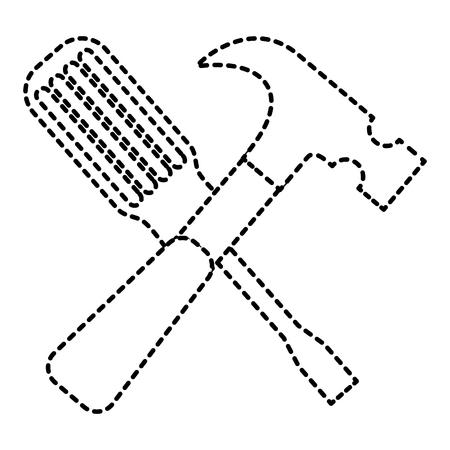 Hammer and screwdriver tools equipment repair vector illustration