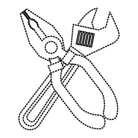 Pliers and wrench tool equipment support vector illustration
