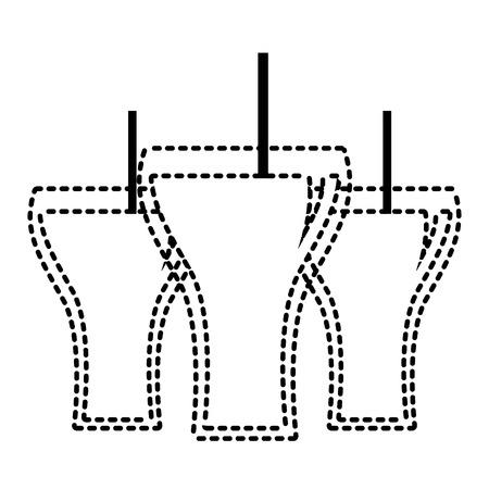 Beverage soda three glass straw bubbles vector illustration