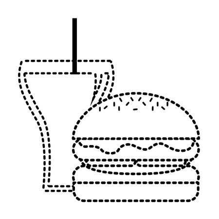 Burger and soda glass straw fast food vector illustration