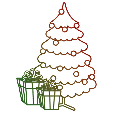 Christmas tree with gifts. Vector illustration design.