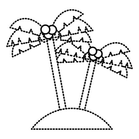 Twee palmen boom kokosnoot strand zand vectorillustratie Stock Illustratie