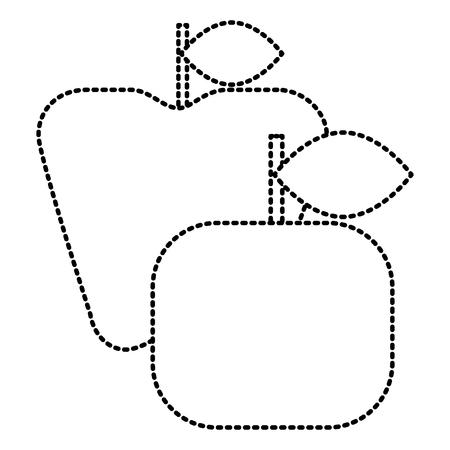 Apple and orange fruit fresh icon vector illustration
