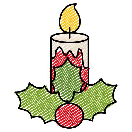 Diseño decorativo del ejemplo del vector del icono de las velas de la Navidad. Foto de archivo - 93295678