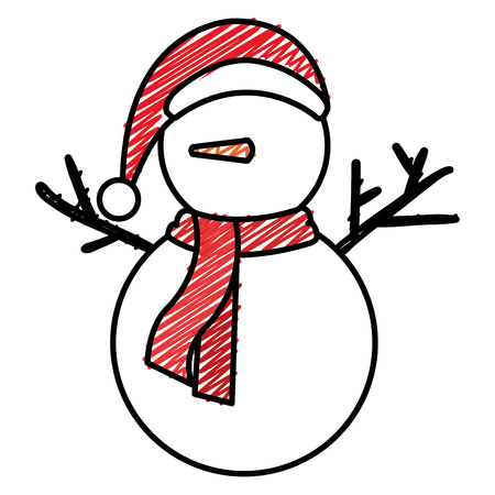 Christmas snowman character. Vector illustration design. Vettoriali