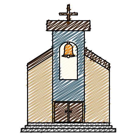 教会の建物は、孤立したアイコンベクトルイラストデザイン。