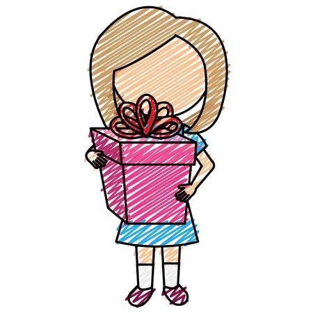Nettes Mädchen mit Geschenk. Vektor-Illustration-Design. Standard-Bild - 93318770