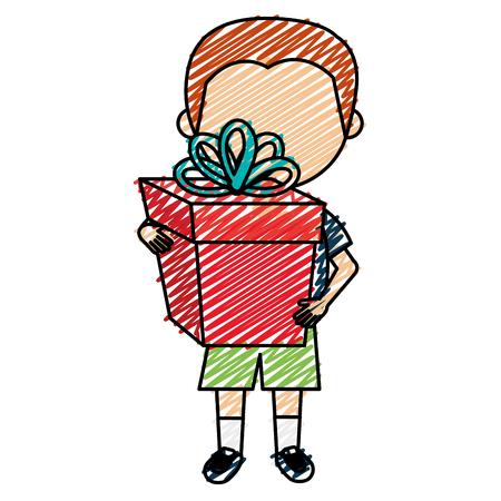 Kleine jongen met cadeau. Vector illustratie ontwerp. Stock Illustratie