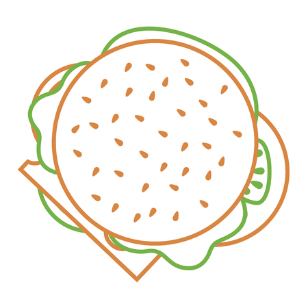 Burger fast food delicious top view vector illustration