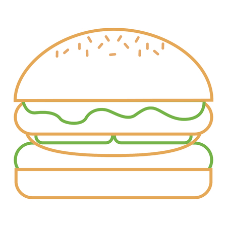 hamburger bread bun lettuce and cheese fresh vector illustration Imagens - 93318899