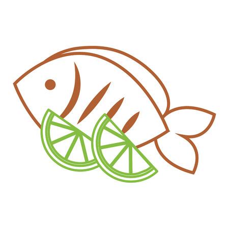 food fresh fish and slide lime vector illustration Ilustrace