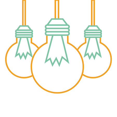 ●3つの電球がぶら下がるエネルギーアイコンベクトルイラスト。