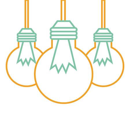 De pictogrammen vectorillustratie van de drie bol lichte hangende energie. Stock Illustratie